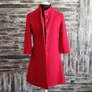 Anthropologie Tulle Red long pea coat size medium